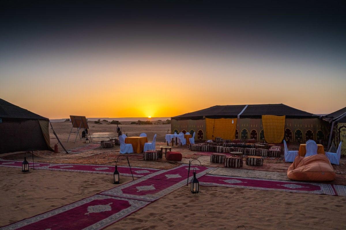 desert camp sunrise