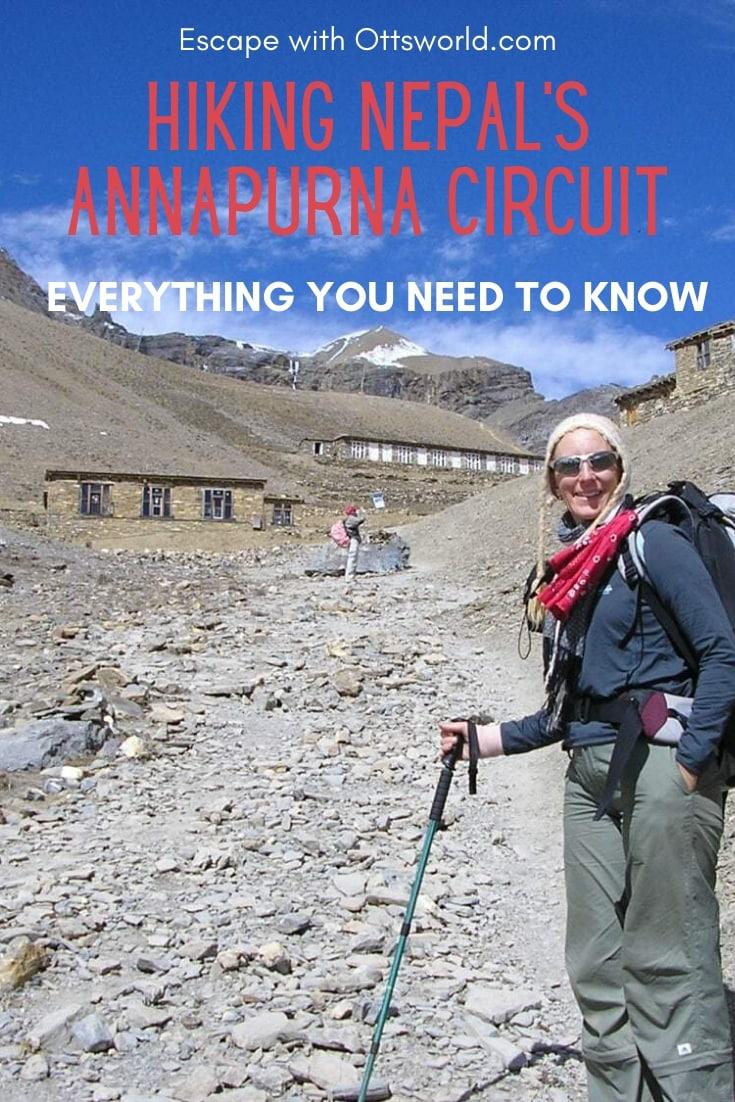 Woman hiking Annapurna Circuit Nepal