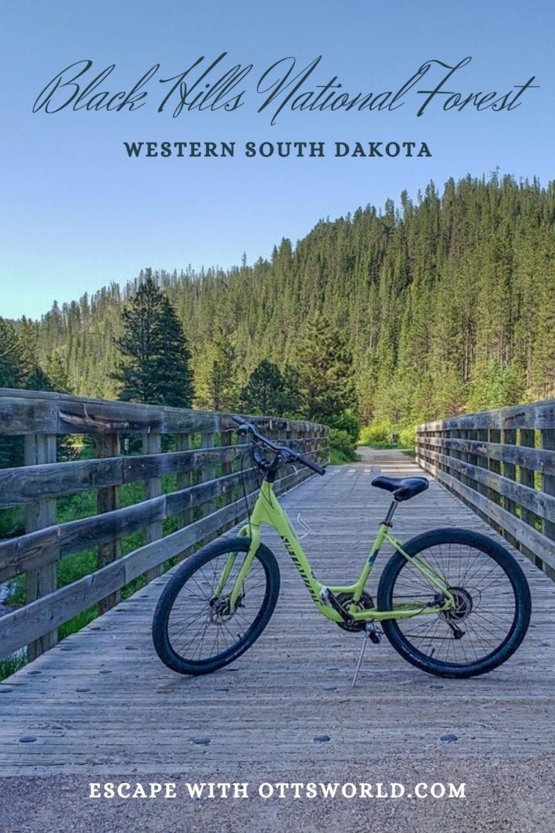 bike on trail in black hills national forest south dakota usa