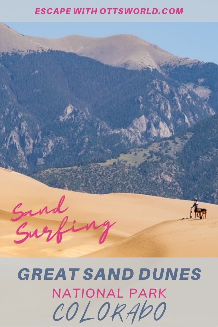 Sand dunes and mountains in Great Sand Dunes National Park Colorado