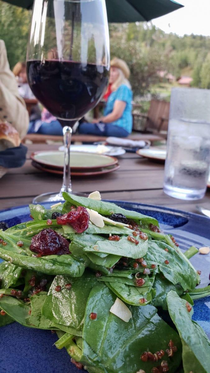 wine and salad