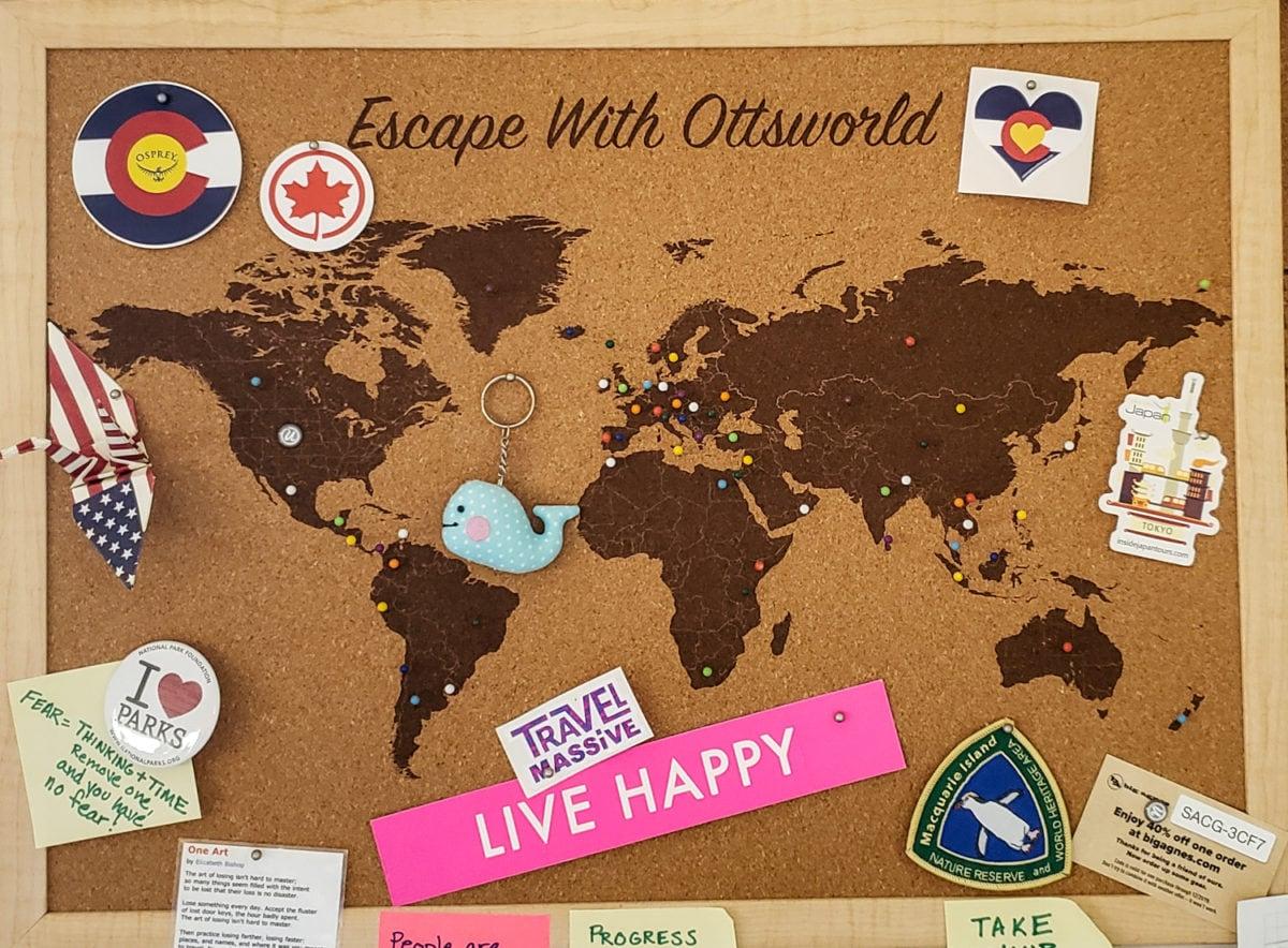 cork board map customized gift