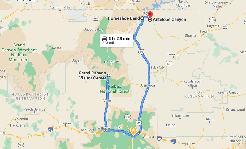 drive from grand canyon to antelope canyon