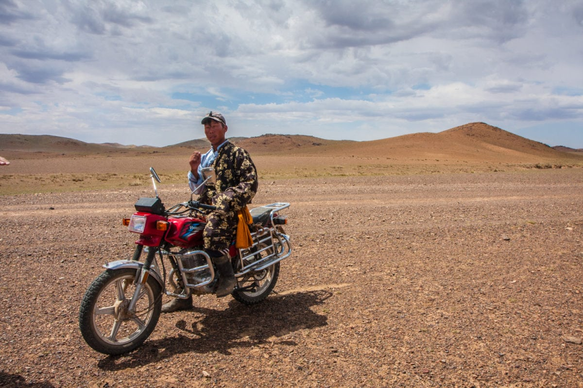 motorcyclist in the desert