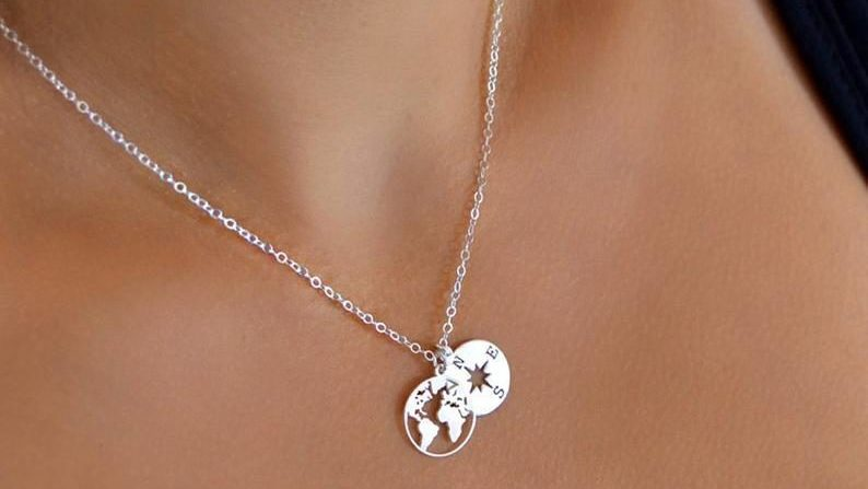 compass and world map necklace