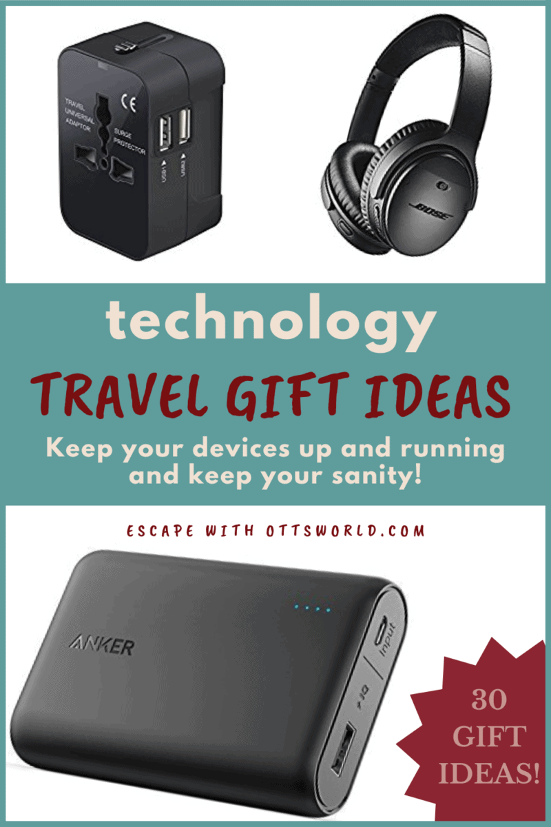 collage of travel technology items