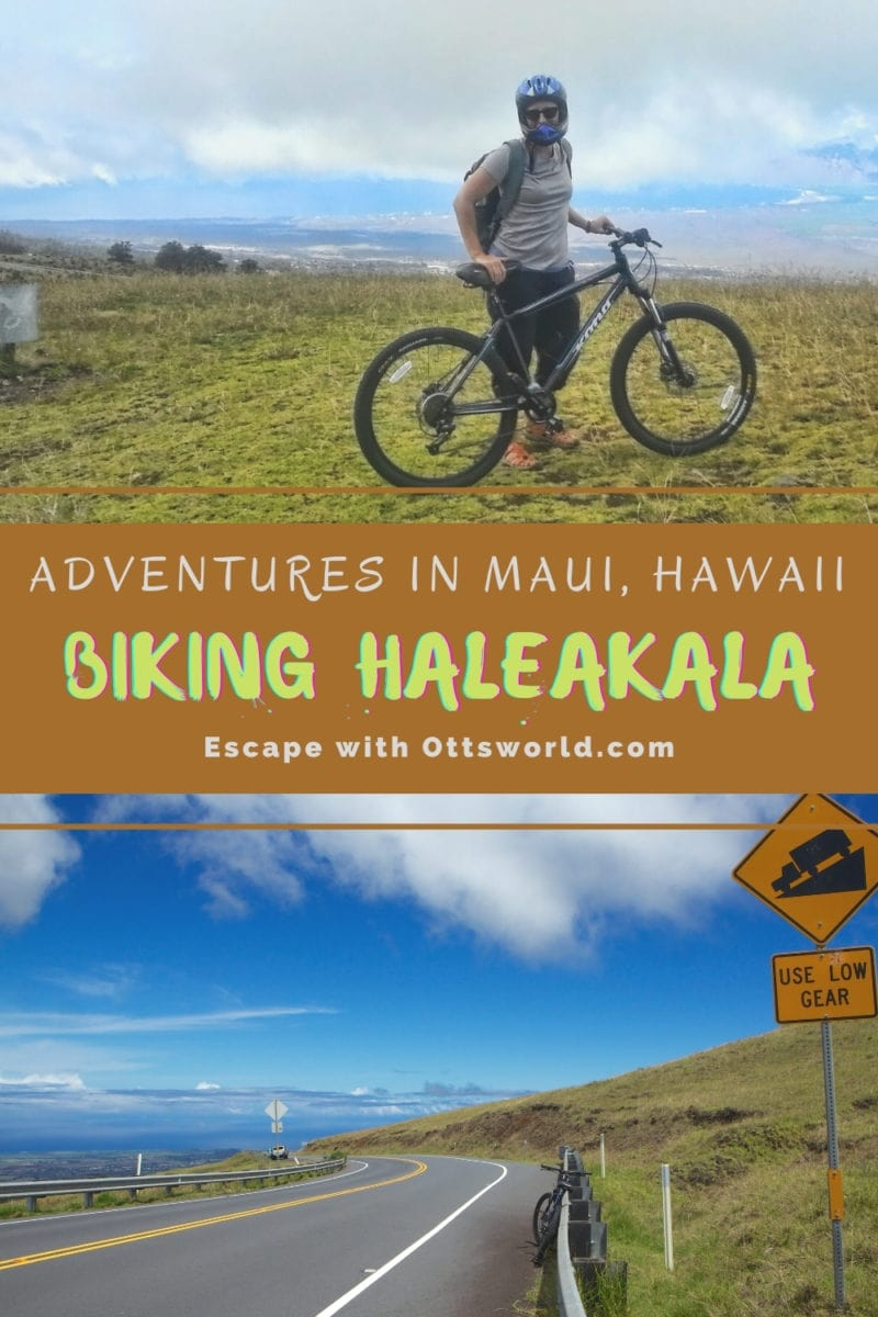Bicycle rider on Haleakala Mountain in Maui, Hawaii