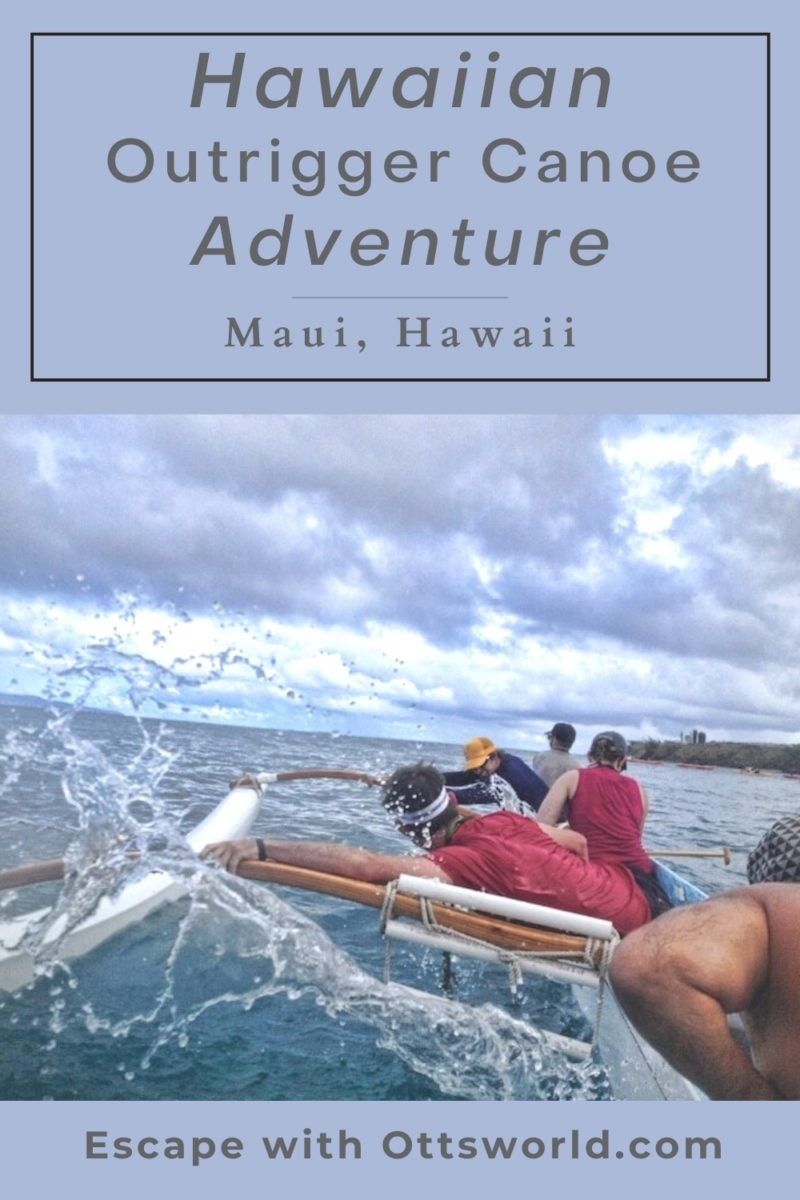 paddlers in outrigger canoe Maui Hawaii