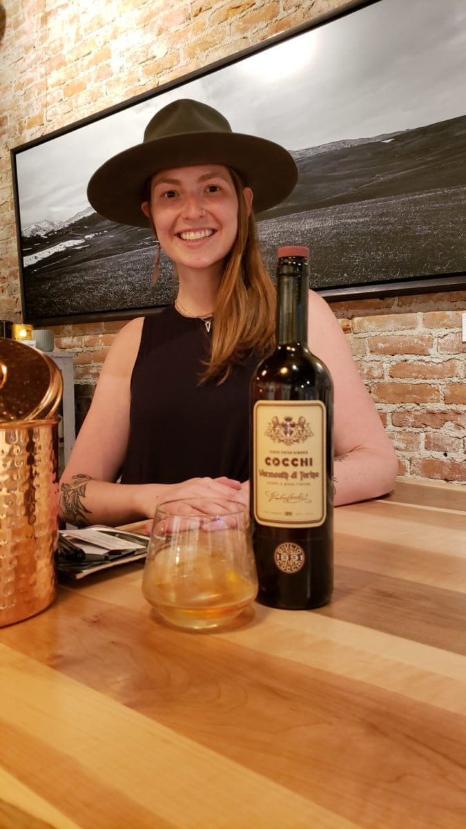Gretchen pouring vermouth