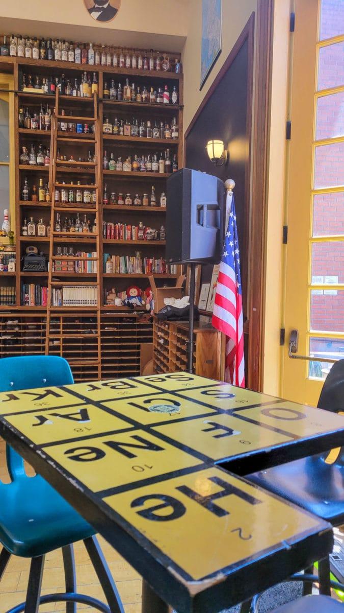 tables at Schoolhouse Libations