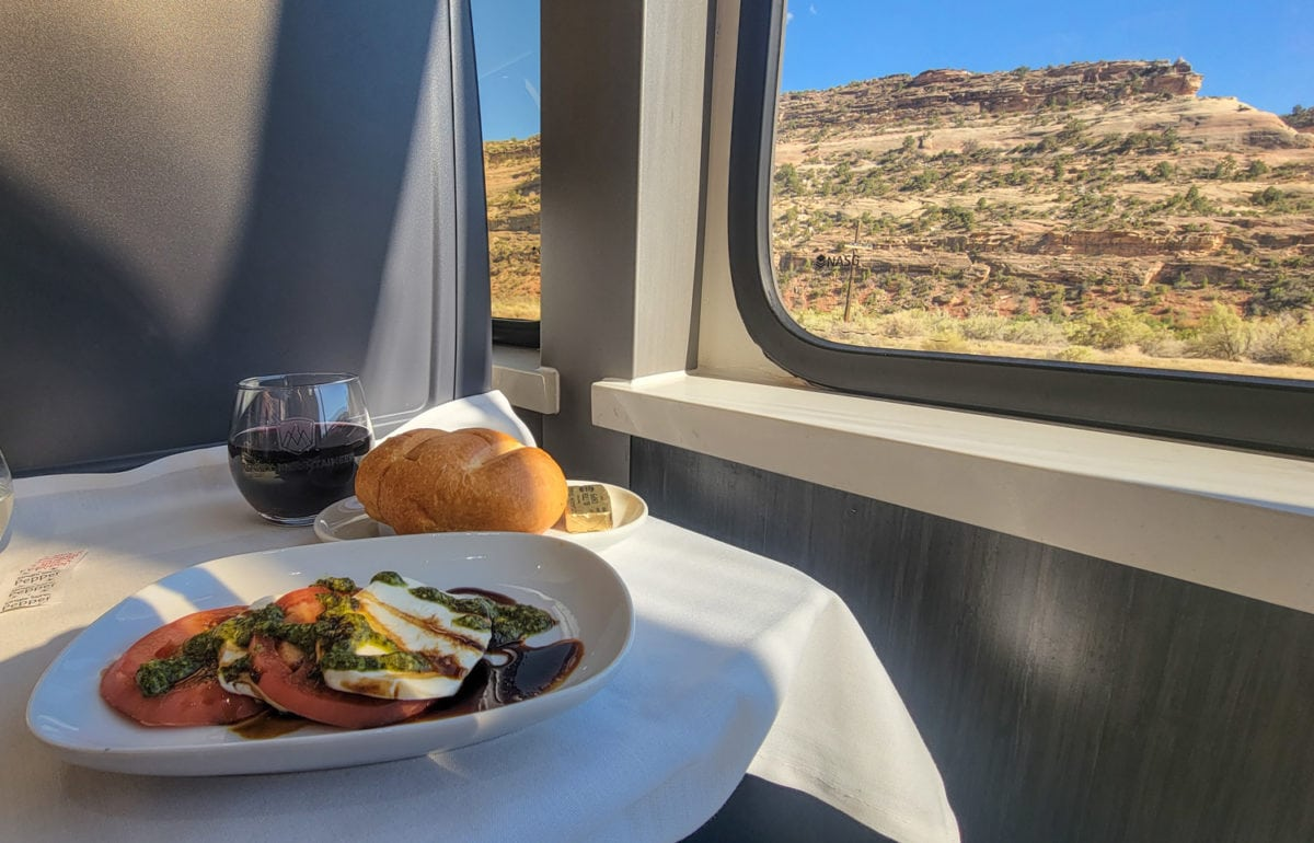 food with a train view