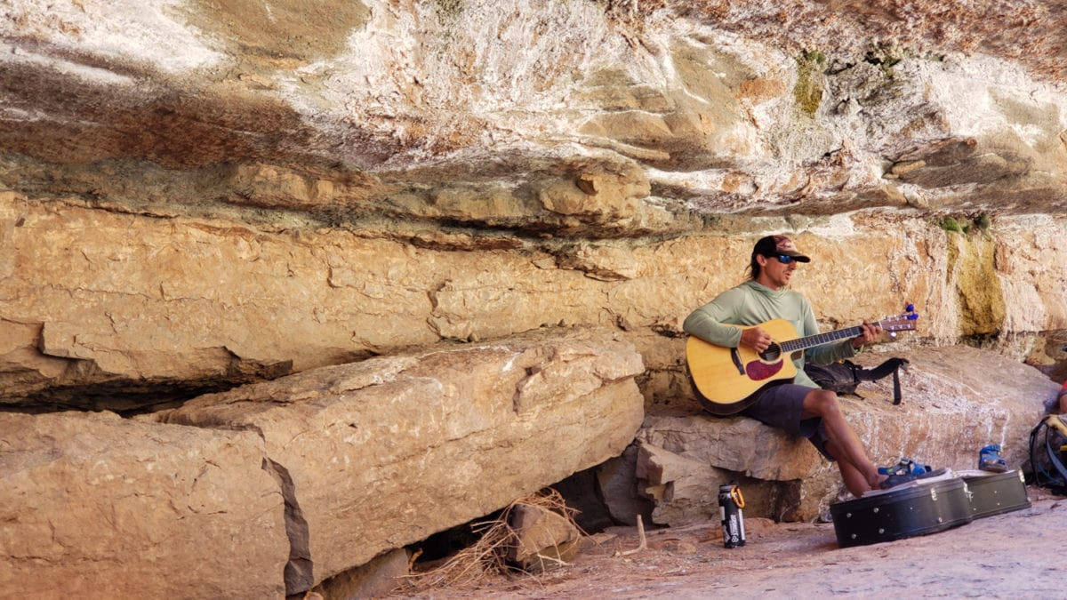Dave playing music in clearwater canyon